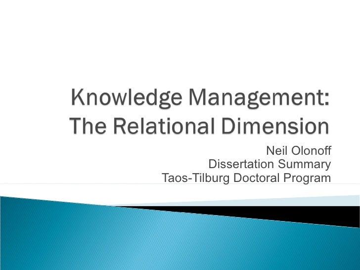 Neil Olonoff Dissertation Summary Taos-Tilburg Doctoral Program