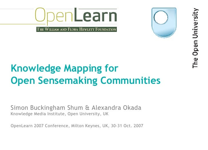 Knowledge Mapping for  Open Sensemaking Communities Simon Buckingham Shum & Alexandra Okada OpenLearn 2007 Conference, Mil...