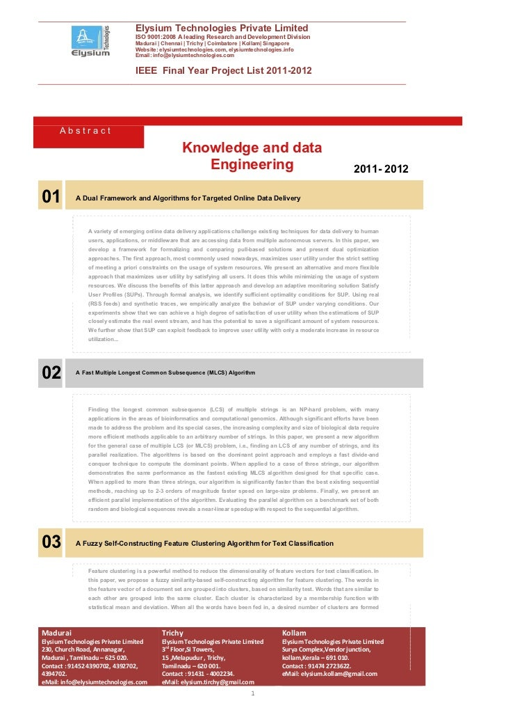 IEEE Final Year Projects 2011-2012 :: Elysium Technologies Pvt Ltd::Knowledge and data engineering abstract