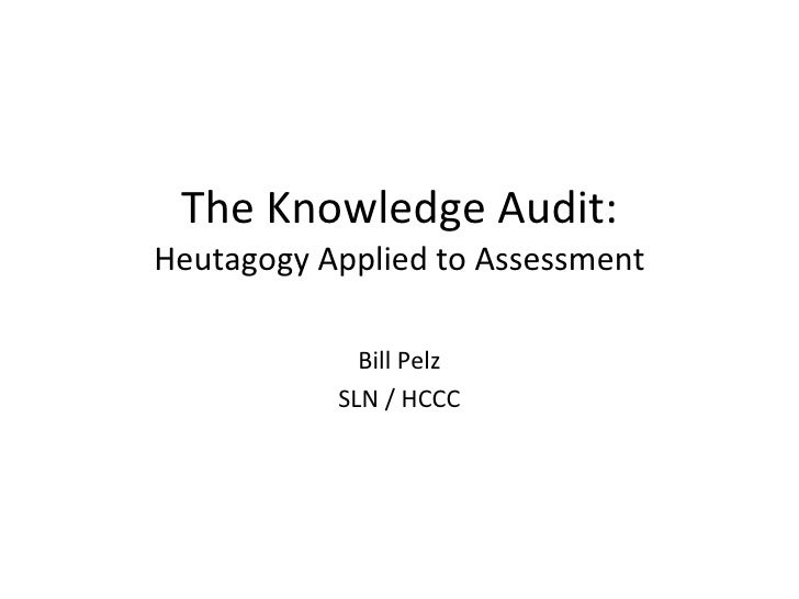 The Knowledge Audit: Heutagogy Applied to Assessment Bill Pelz SLN / HCCC