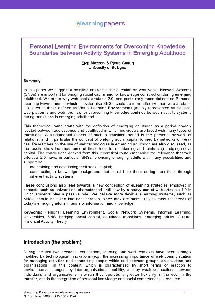 Personal Learning Environments for Overcoming Knowledge    Boundaries between Activity Systems in Emerging Adulthood      ...