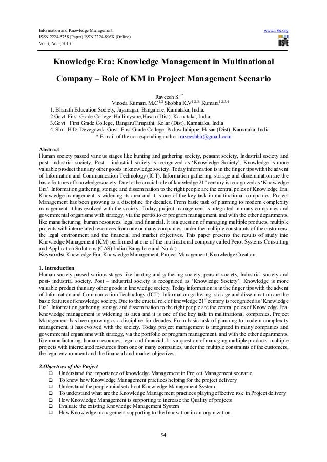 Information and Knowledge Management www.iiste.orgISSN 2224-5758 (Paper) ISSN 2224-896X (Online)Vol.3, No.5, 201394Knowled...