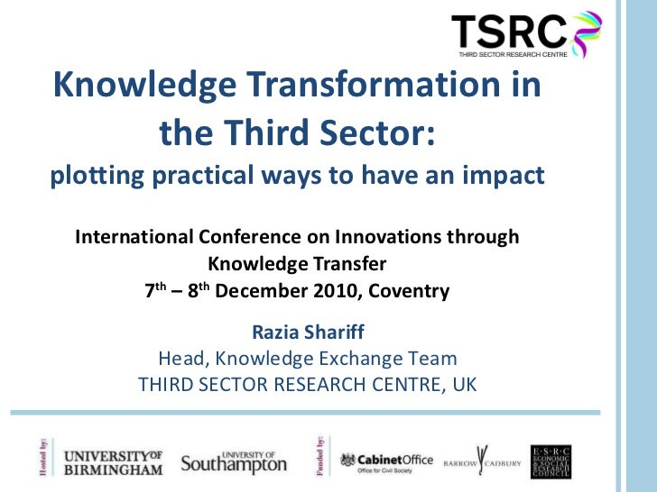 Knowledge Transformation in the Third Sector: plotting practical ways to have an impact International Conference on Innova...