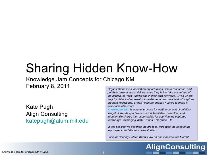 Sharing Hidden Know-How  Knowledge Jam Concepts for Chicago KM February 8, 2011 Kate Pugh  Align Consulting [email_address...