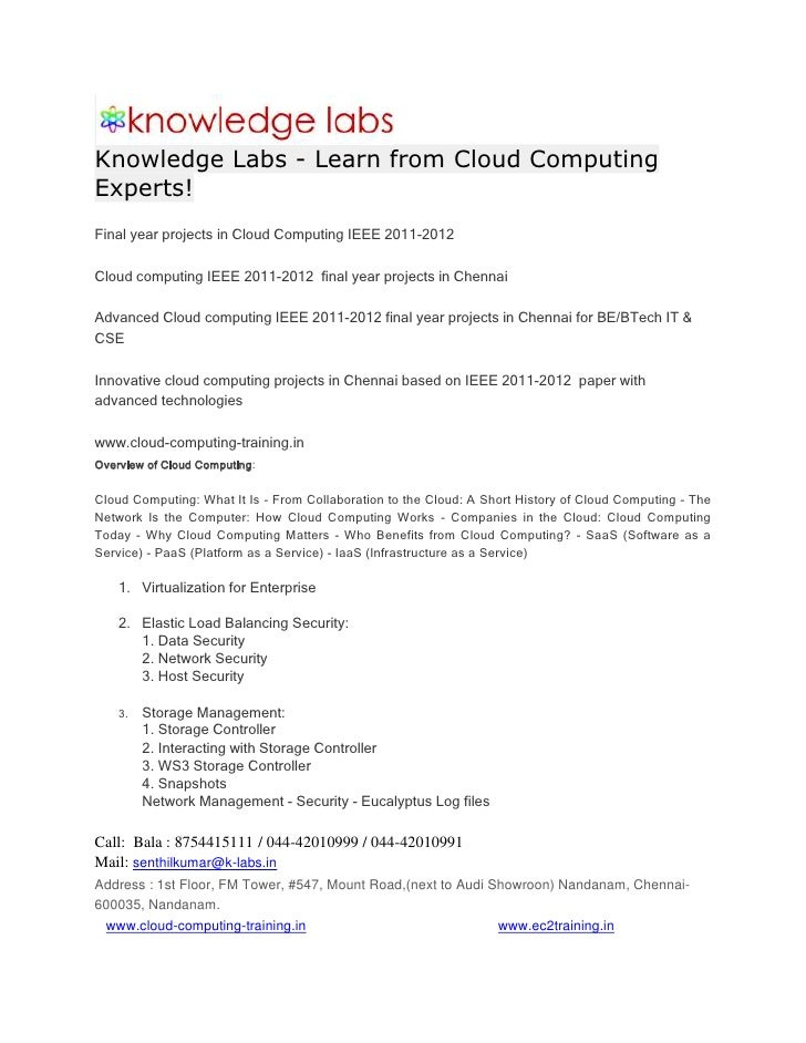 Knowledge Labs - Learn from Cloud Computing Experts!<br />Final year projects in Cloud Computing IEEE 2011-2012<br />Cloud...
