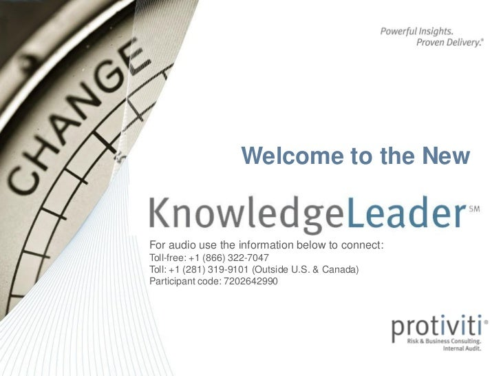 KnowledgeLeader Webinar for September 18, 2012