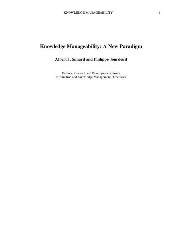 Knowledge manageability paradigm