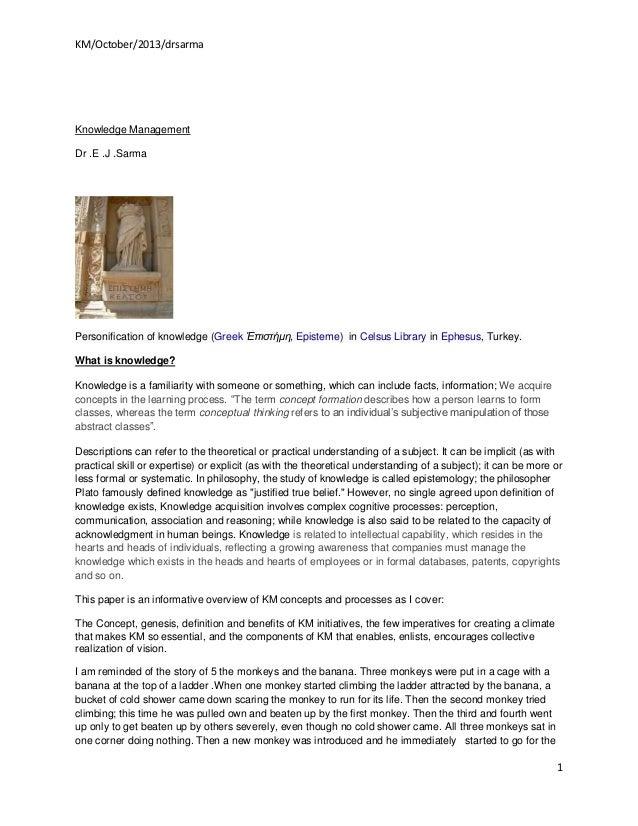 KM/October/2013/drsarma  Knowledge Management Dr .E .J .Sarma  Personification of knowledge (Greek Ἐπιστήμη, Episteme) in ...