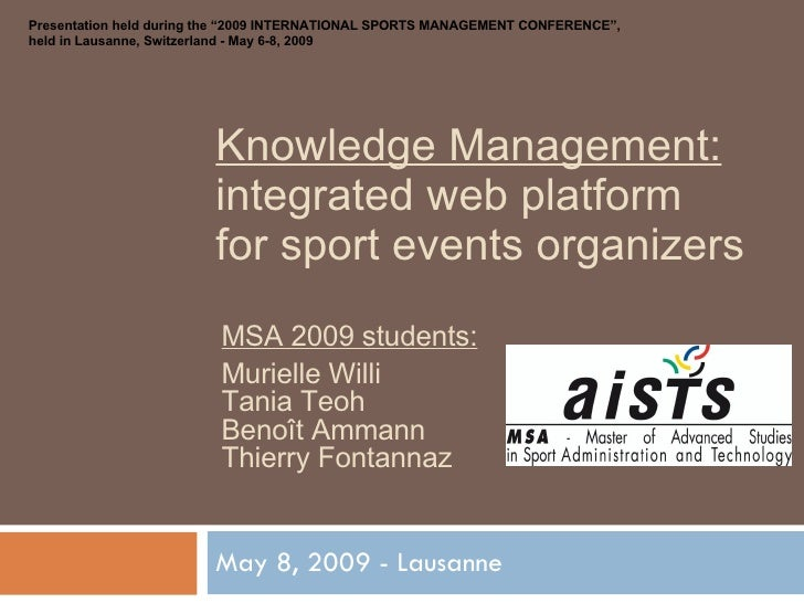 Knowledge Management: integrated web platform for sport events organizer