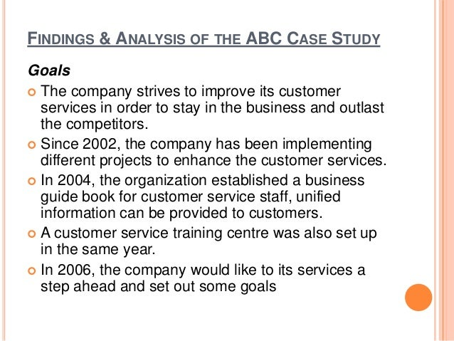 case study for abc inc A case study analysis can help a business with choosing the right solutions when working through challenges and roadblock a case analysis begins with.