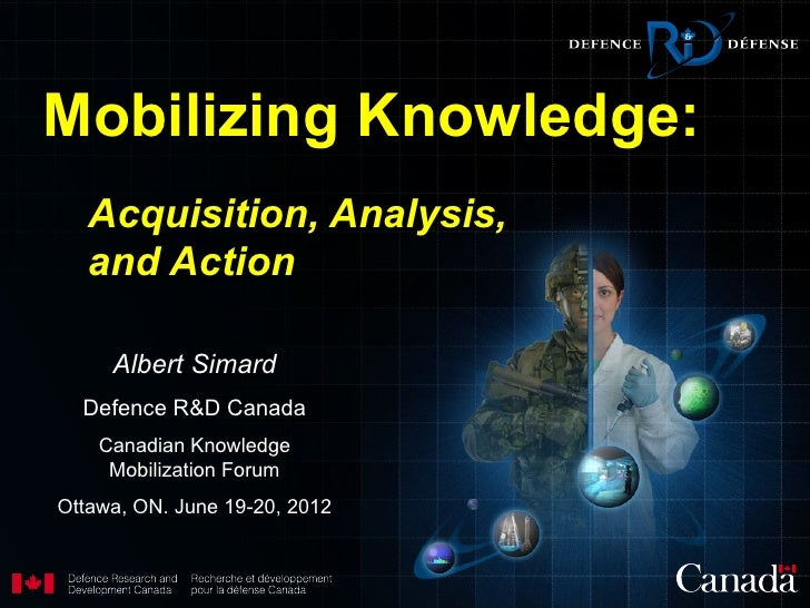 Mobilizing Knowledge:   Acquisition, Analysis,   and Action     Albert Simard  Defence R&D Canada    Canadian Knowledge   ...