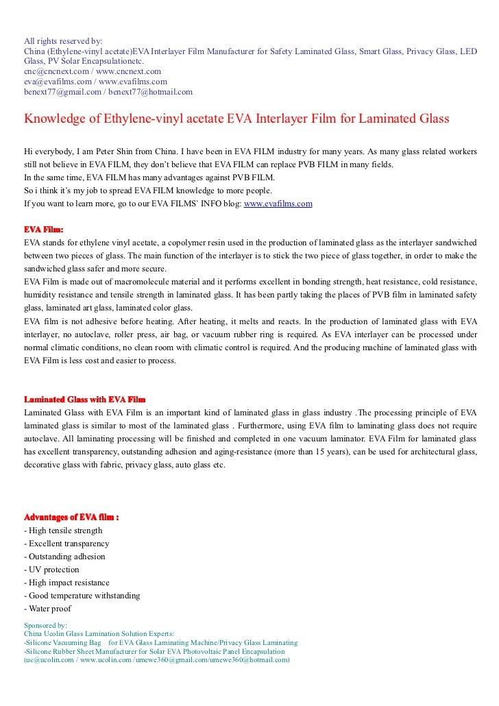 All rights reserved by:China (Ethylene-vinyl acetate)EVA Interlayer Film Manufacturer for Safety Laminated Glass, Smart Gl...