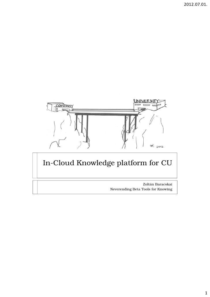 2012.07.01.In-Cloud Knowledge platform for CU                                   Zoltán Baracskai                 Neverendi...