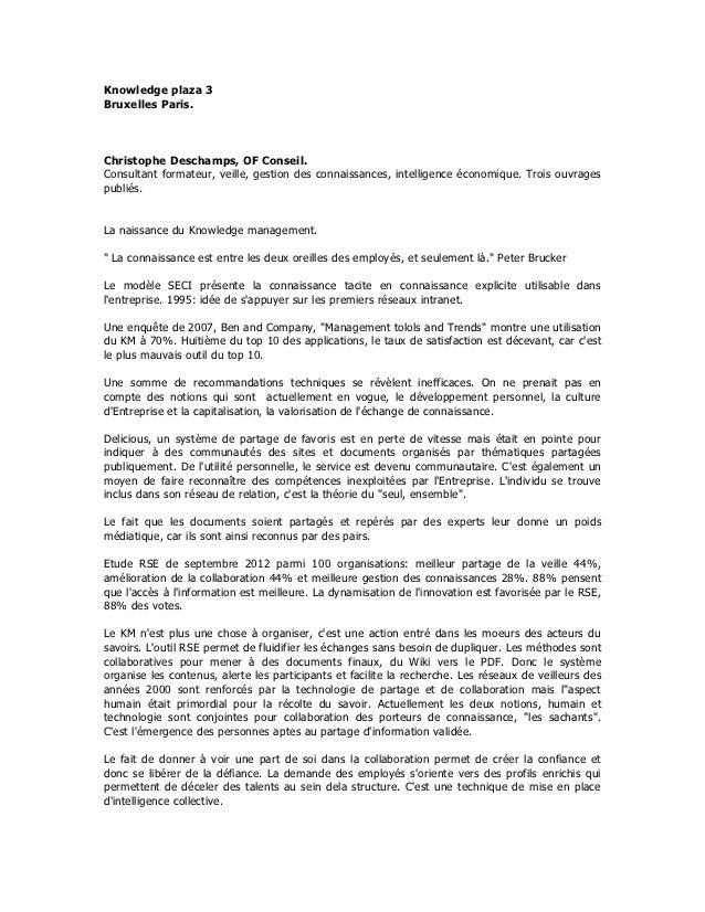 Knowledge plaza 3Bruxelles Paris.Christophe Deschamps, OF Conseil.Consultant formateur, veille, gestion des connaissances,...