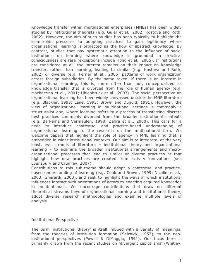 Knowledge Transfer Within Multinational Enterprises