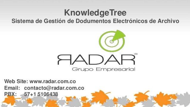 KnowledgeTree Sistema de Gestión de Dodumentos Electrónicos de Archivo Web Site: www.radar.com.co Email: contacto@radar.co...