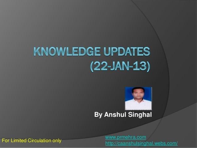 Knowledge update 23 jan-14