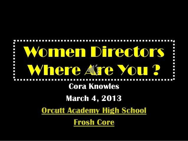 Women Directors Where Are You?