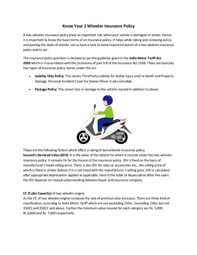 Know Your 2 Wheeler Insurance Policy