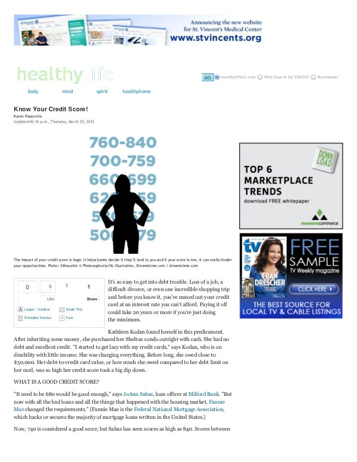 Know your credit score!   healthy life ct