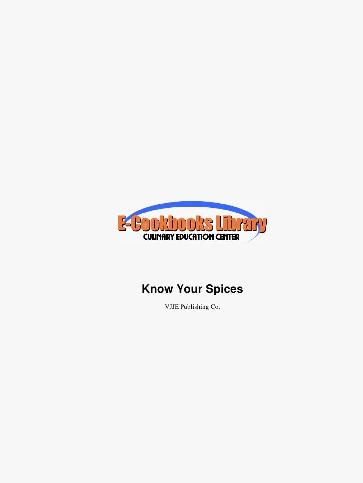 Know Your Spices   VJJE Publishing Co.
