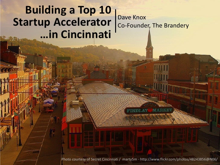 Building a Top 10                      Dave KnoxStartup Accelerator                      Co-Founder, The Brandery     …in ...