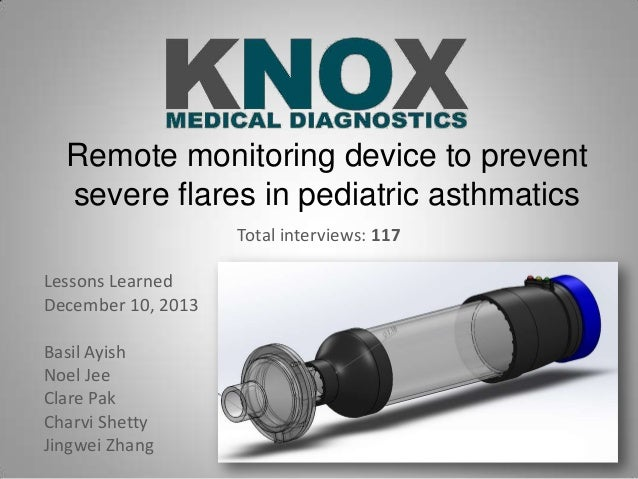 Remote monitoring device to prevent severe flares in pediatric asthmatics Total interviews: 117 Lessons Learned December 1...