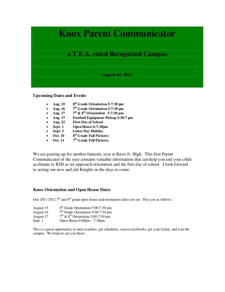Knox Parent Communicator                       a T.E.A. rated Recognized Campus                                           ...