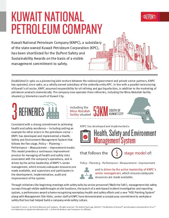 Kuwait National Petroleum Company | DuPont Safety and Sustainability Awards 2013