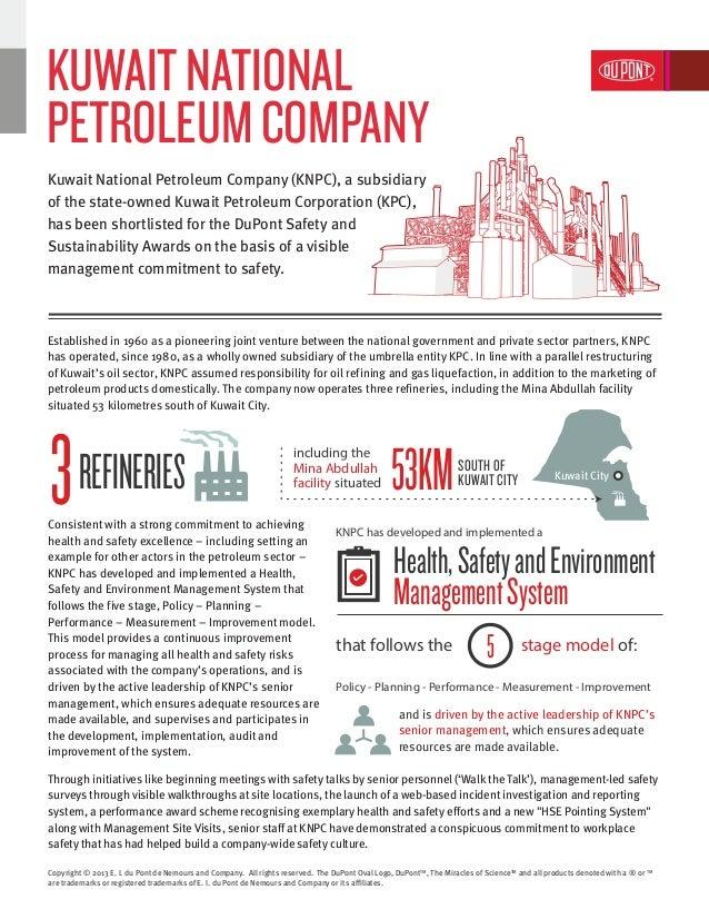 Kuwait National Petroleum Company | DuPont Safety and Sustainability Awards 2013