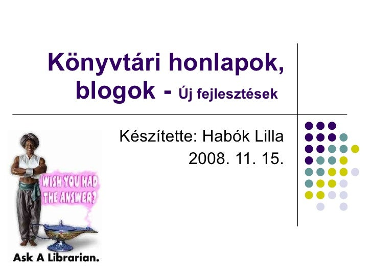 Könyvtári honlapok, blogok