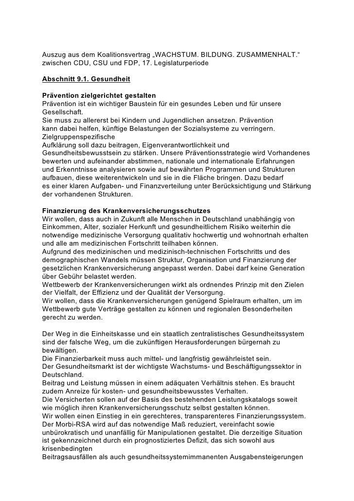 """Auszug aus dem Koalitionsvertrag """"WACHSTUM. BILDUNG. ZUSAMMENHALT."""" zwischen CDU, CSU und FDP, 17. Legislaturperiode  Absc..."""