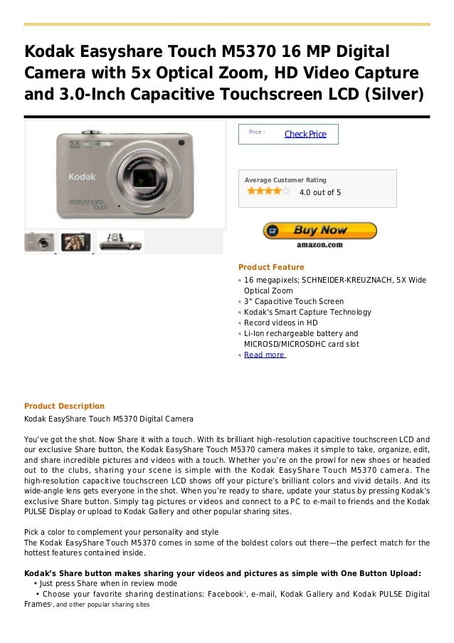 Kodak Easyshare Touch M5370 16 MP DigitalCamera with 5x Optical Zoom, HD Video Captureand 3.0-Inch Capacitive Touchscreen ...