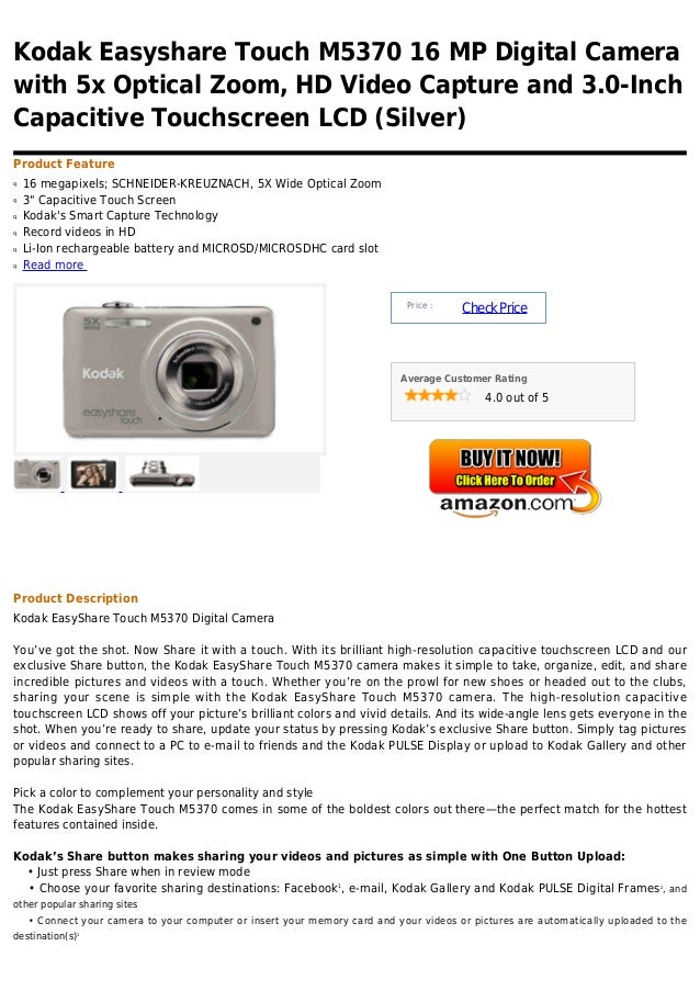 Kodak Easyshare Touch M5370 16 MP Digital Camerawith 5x Optical Zoom, HD Video Capture and 3.0-InchCapacitive Touchscreen ...