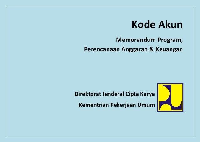 Kode AkunMemorandum Program,Perencanaan Anggaran & KeuanganDirektorat Jenderal Cipta KaryaKementrian Pekerjaan Umum