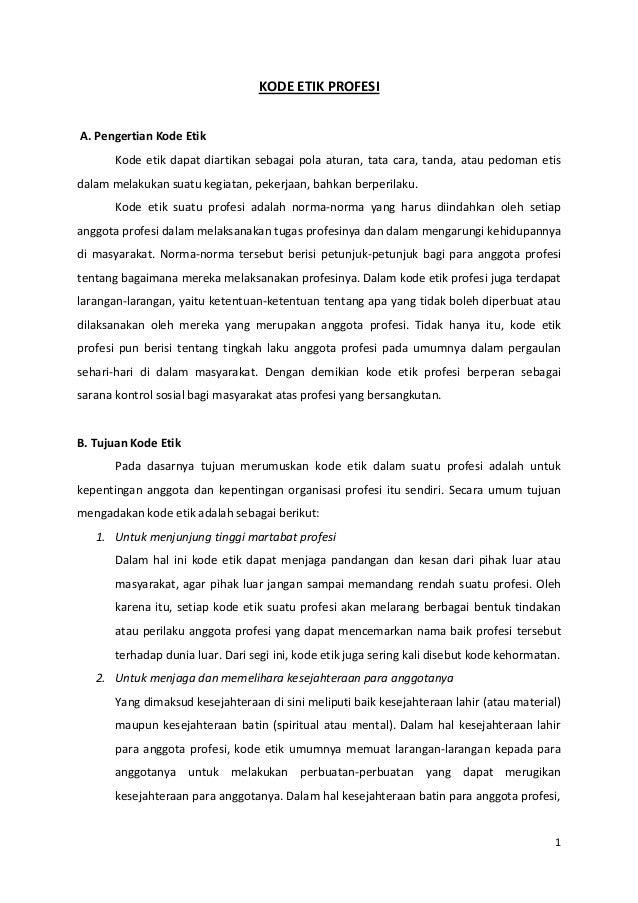 Kode etik profesi dan kode etik guru indonesia