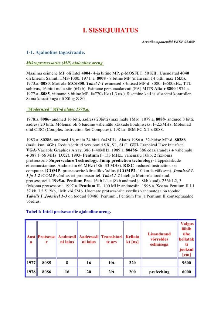I. SISSEJUHATUS                                                                 Arvutikomponendid FKEF.02.089  1-1. Ajaloo...
