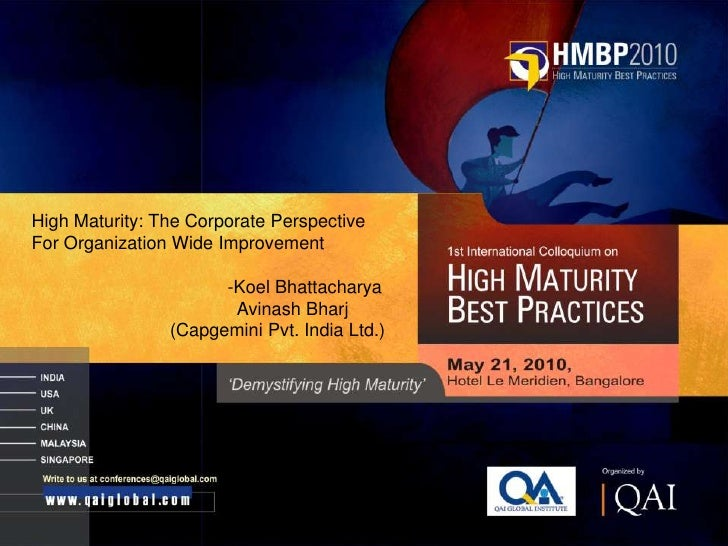 Together. Free your energies     High Maturity: The Corporate Perspective For Organization Wide Improvement               ...