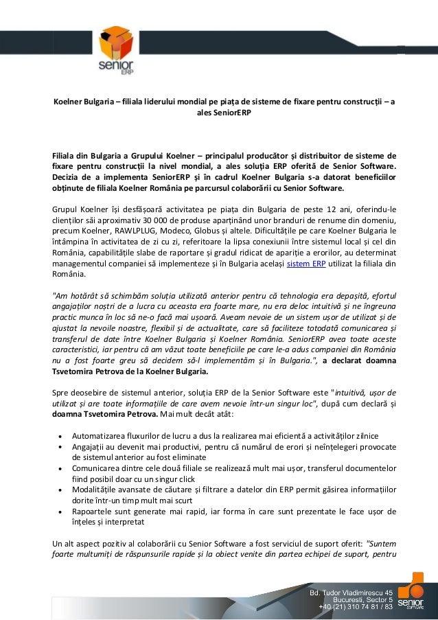 Koelner Bulgaria – filiala liderului mondial pe piața de sisteme de fixare pentru construcții – a ales SeniorERP  Filiala ...