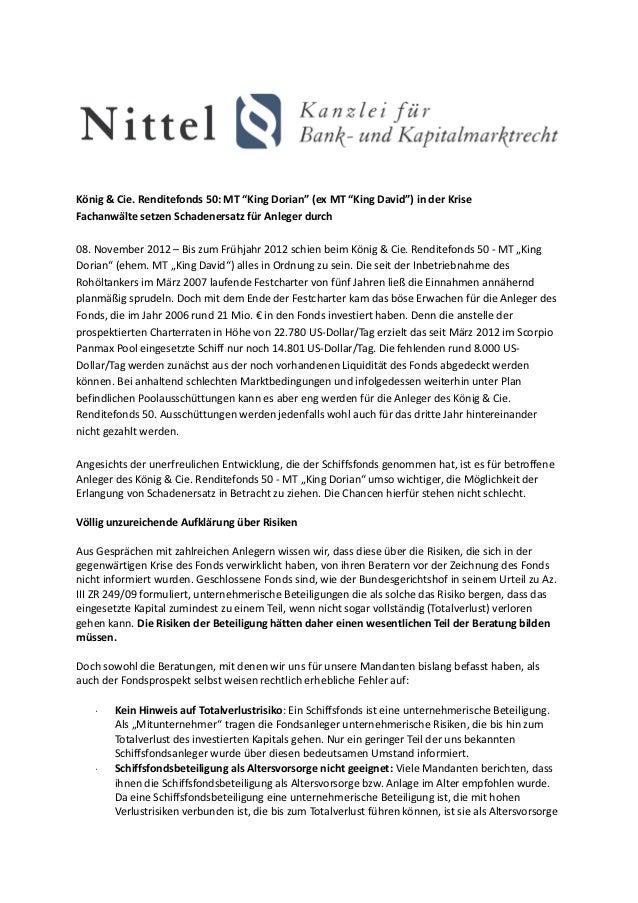 """König & Cie. Renditefonds 50: MT """"King Dorian"""" (ex MT """"King David"""") in der KriseFachanwälte setzen Schadenersatz für Anleg..."""
