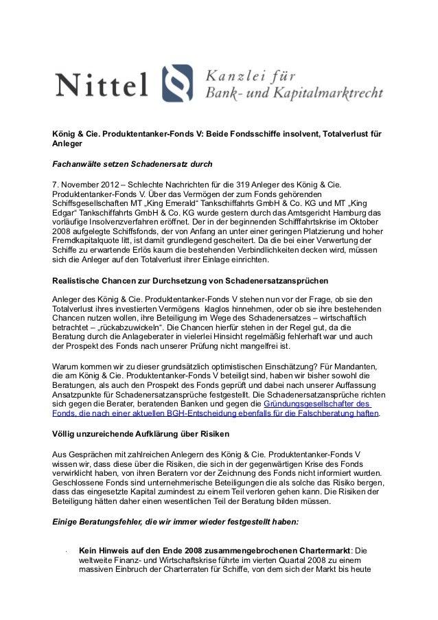 König & Cie. Produktentanker-Fonds V: Beide Fondsschiffe insolvent, Totalverlust fürAnlegerFachanwälte setzen Schadenersat...