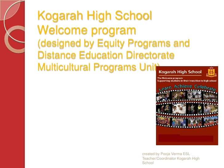 Kogarah High SchoolWelcome program  (designed by Equity Programs and Distance Education Directorate Multicultural Programs...