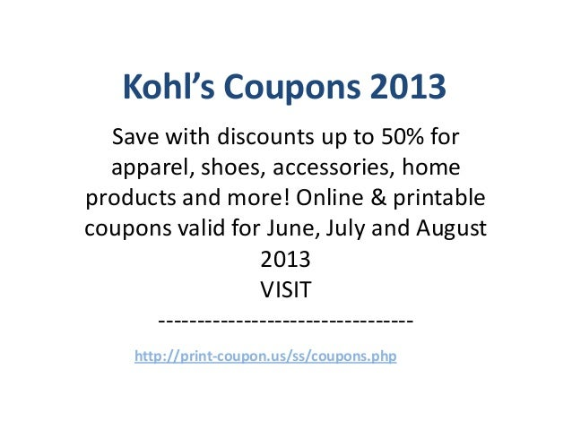 Kohls Coupons Code June 2013 July 2013 August 2013