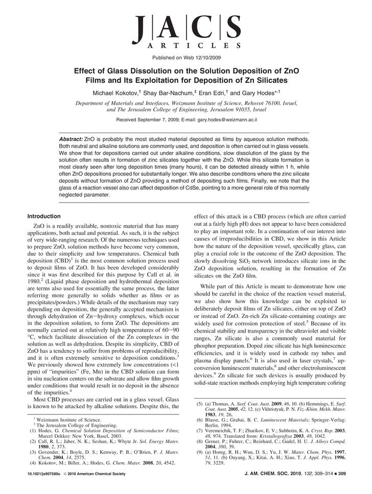 Published on Web 12/10/2009                       Effect of Glass Dissolution on the Solution Deposition of ZnO           ...