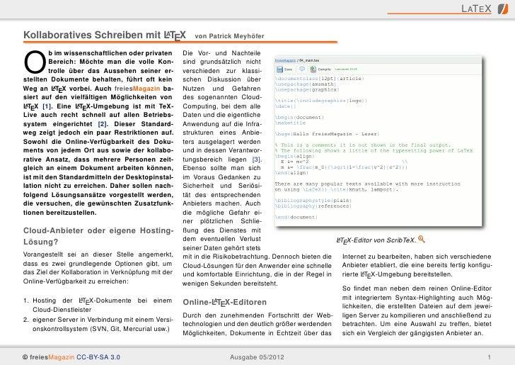 L AT E XKollaboratives Schreiben mit LTEX                             A                         von Patrick Meyhöfer      ...
