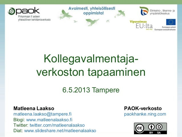 Kollegavalmentajaverkoston tapaaminen 6.5.2013