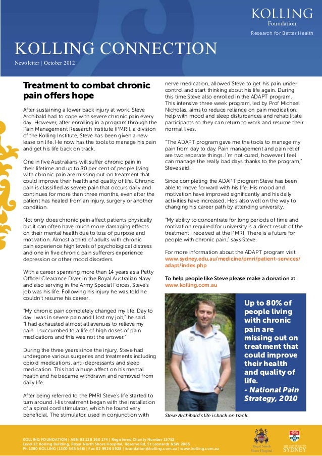 Research for Better HealthKOLLING CONNECTIONNewsletter | October 2012   Treatment to combat chronic                       ...