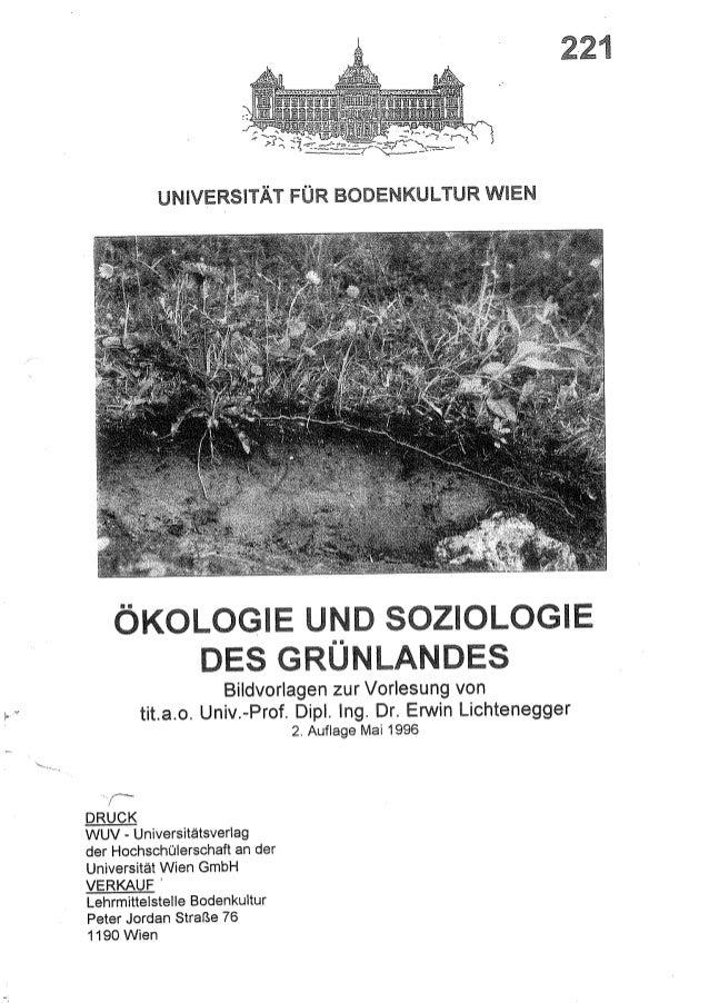 Ökologie und Soziologie des Grünlandes, UnivProf Erwin Lichenegger, Vorlesungsunterlage, 1996