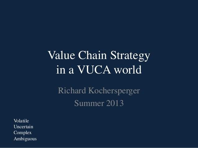 Value Chain Strategyin a VUCA worldRichard KocherspergerSummer 2013VolatileUncertainComplexAmbiguous