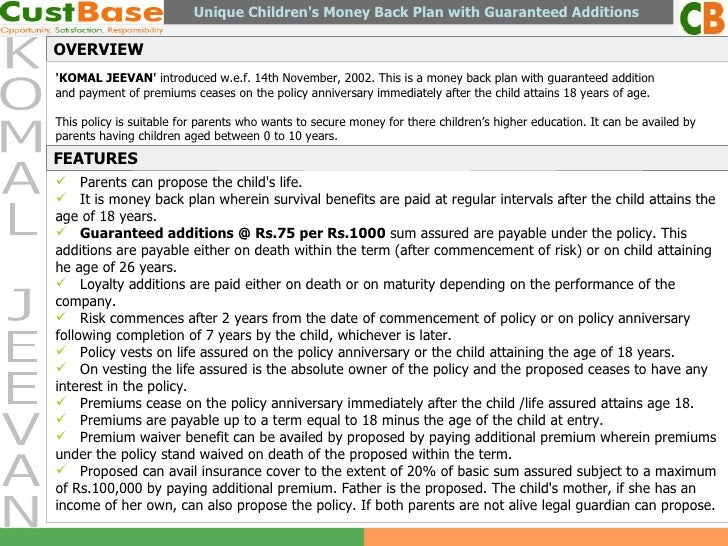 KOMAL JEEVAN OVERVIEW Unique Children's Money Back Plan with Guaranteed Additions  'KOMAL JEEVAN'  introduced w.e.f. 14th ...